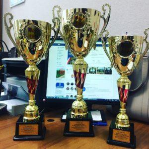 Кубки для победителей ХVIII-й традиционного турнира по дзюдо, посвящённый памяти Героя России Андрея Завьялкина.